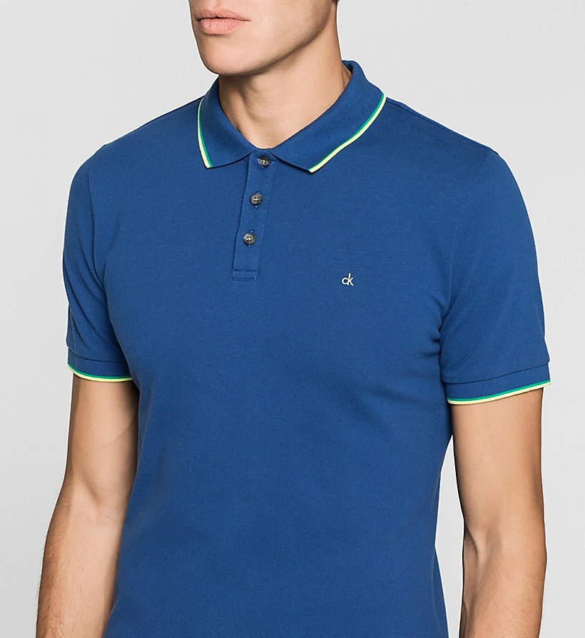 CKJEANS Slim Cotton Piqué Polo - MONACO BLUE - CK JEANS CLOTHES - detail image 2