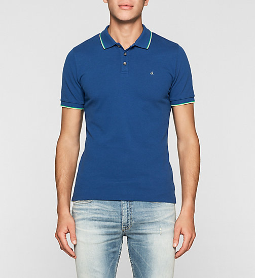 Slim Cotton Piqué Polo - MONACO BLUE - CK JEANS POLO SHIRTS - main image