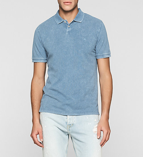 Fitted Cotton Piqué Polo - LIGHT INDIGO - CK JEANS POLO SHIRTS - main image