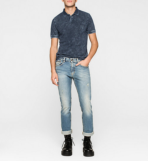 CKJEANS Fitted Cotton Piqué Polo - MID INDIGO - CK JEANS  - detail image 1