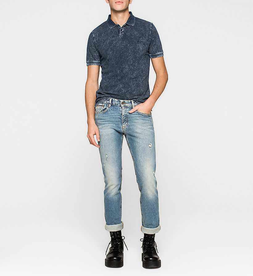 CKJEANS Fitted Cotton Piqué Polo - MID INDIGO - CK JEANS CLOTHES - detail image 1
