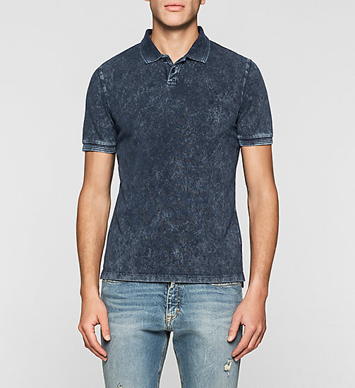 Fitted Cotton Piqué Polo - MID INDIGO - CK JEANS POLO SHIRTS - main image