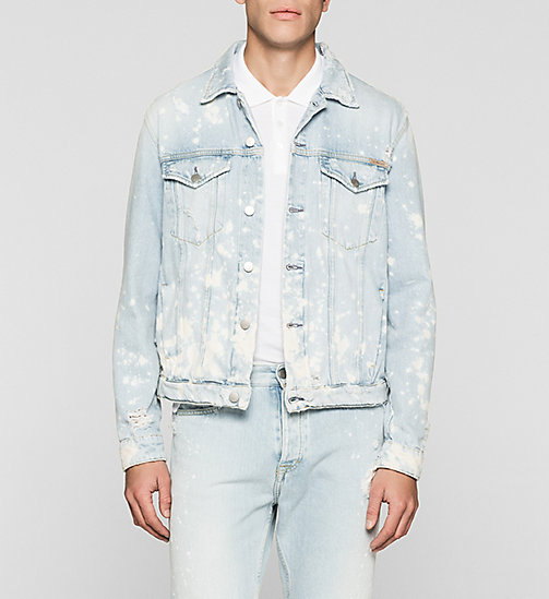 Splatter Denim Trucker Jacket - VINTAGE SPLATTER - CK JEANS OUTERWEAR - main image