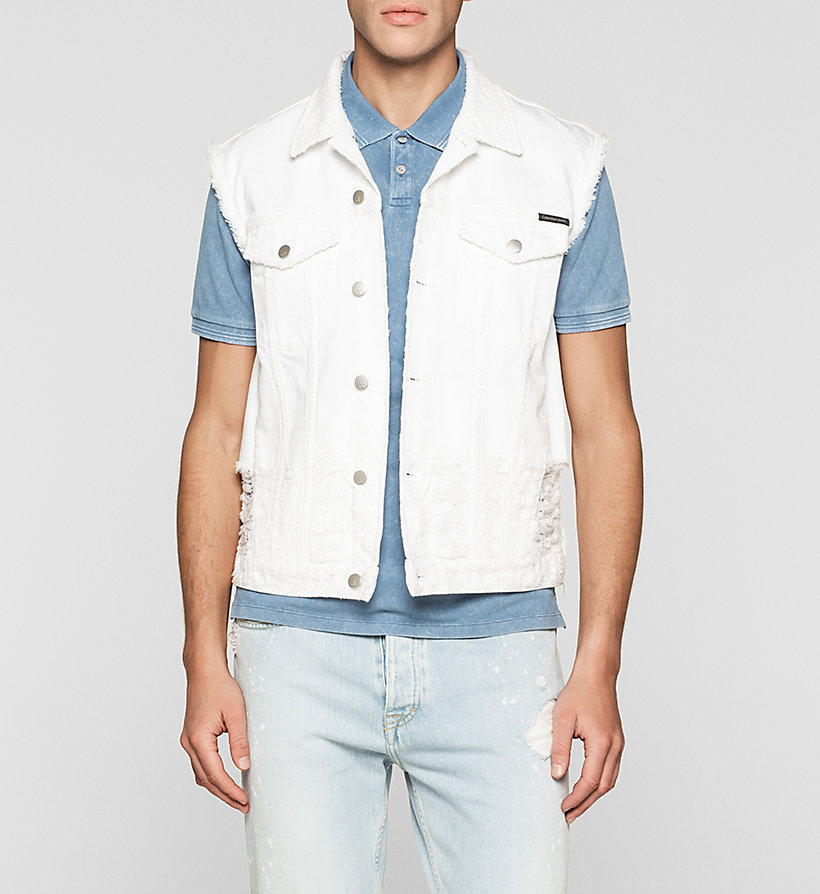 CKJEANS Denim Vest - SHREDDED WHITE - CK JEANS OUTERWEAR - main image
