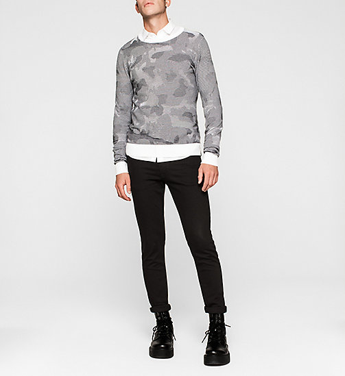 CKJEANS Camo Textured Sweater - BRIGHT WHITE - CK JEANS JUMPERS - detail image 1