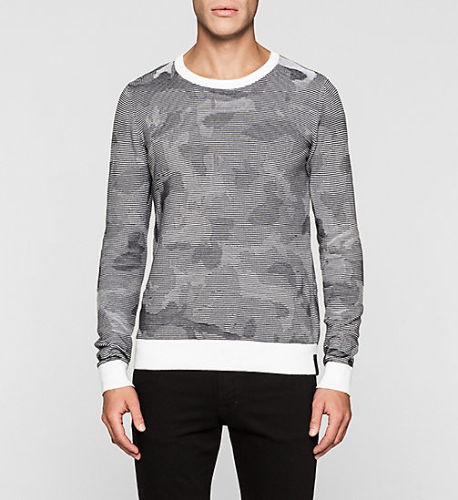 Camo Textured Sweater - BRIGHT WHITE - CK JEANS JUMPERS - main image