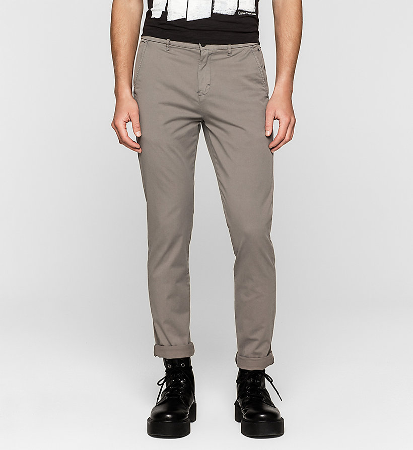 CKJEANS Regular Chino Trousers - BRUSHED NICKEL - CK JEANS TROUSERS - main image