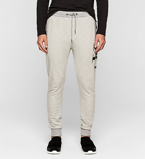 Pantalon de survêtement avec logo - LIGHT GREY HEATHER - CK JEANS PANTALONS - image principale