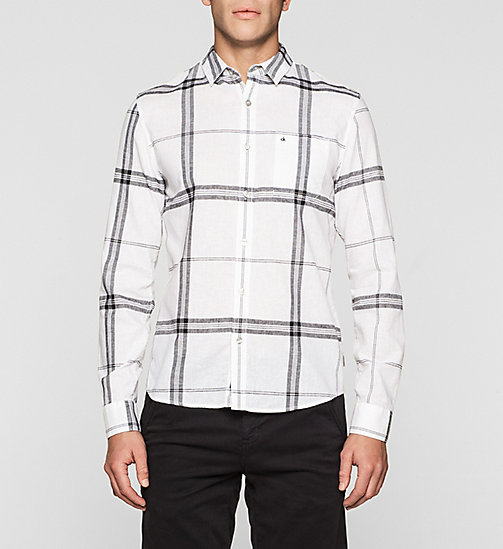 Slim Linen Blend Check Shirt - BRIGHT WHITE - CK JEANS SHIRTS - main image