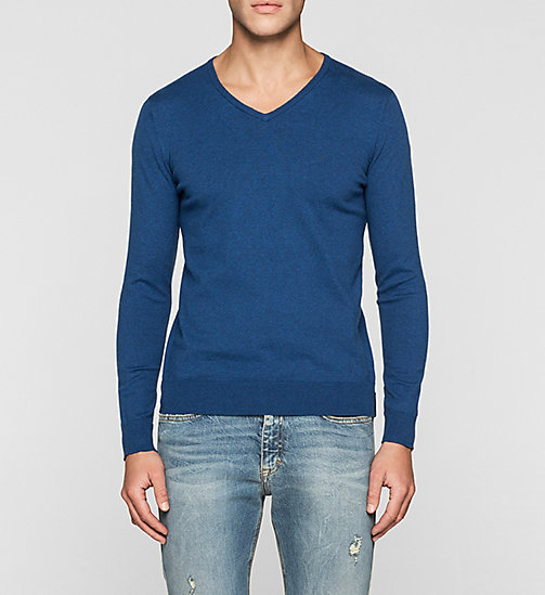 CKJEANS Cotton Stretch Sweater - MONACO BLUE - CK JEANS JUMPERS - main image