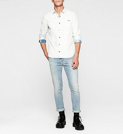 CKJEANS Fitted Bleached Denim Shirt - BLUE TORNADO - CK JEANS DENIM REFRESH - detail image 1