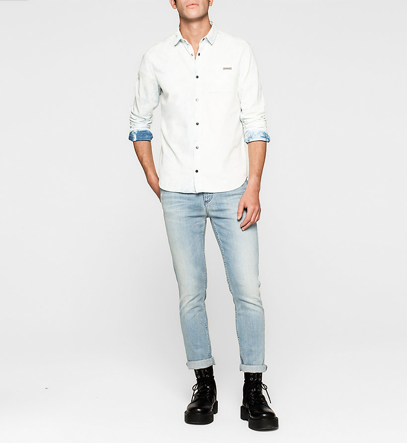 CKJEANS Fitted Bleached Denim Shirt - BLUE TORNADO - CK JEANS CLOTHES - detail image 1