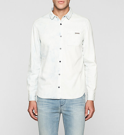 CKJEANS Fitted Bleached Denim Shirt - BLUE TORNADO - CK JEANS DENIM REFRESH - main image
