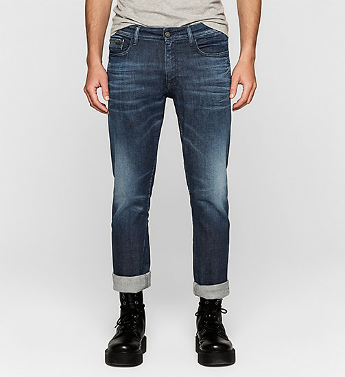 CALVIN KLEIN JEANS Slim Straight Selvedge Jeans - SELVEDGE BLUE DIAMOND - CK JEANS CLOTHES - main image