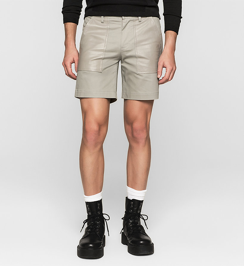CKJEANS Leather-Panelled Shorts - MOURNING DOVE - CK JEANS SHORTS - main image