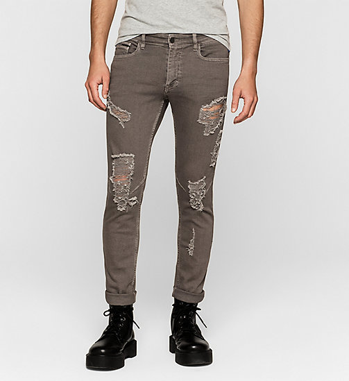 Destructed Skinny Ankle Trousers - BRUSHED NICKEL - CK JEANS  - main image