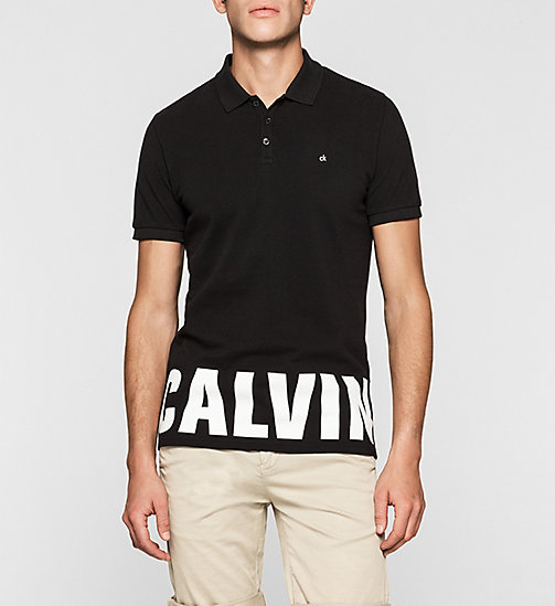 Fitted Cotton Piqué Polo - CK BLACK - CK JEANS POLO SHIRTS - main image