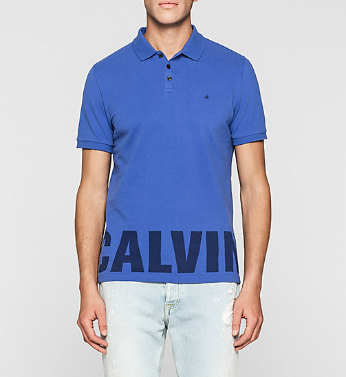 Fitted Cotton Piqué Polo - DAZZLING BLUE - CK JEANS POLO SHIRTS - main image