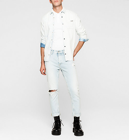 Tailliertes Baumwoll-Jacquard-Poloshirt - BRIGHT WHITE - CK JEANS POLOSHIRTS - main image 1