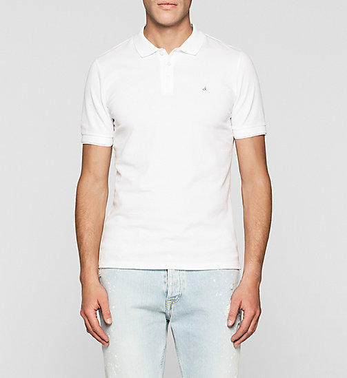 Fitted jacquard katoenen polo - BRIGHT WHITE - CK JEANS POLO'S - main image