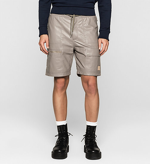 Leather Cargo Shorts - SMOKE GRAY - CK JEANS  - main image