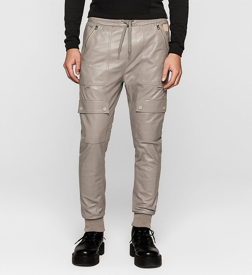 CKJEANS Leather Cargo Trousers - MOURNING DOVE - CK JEANS JACKETS - main image