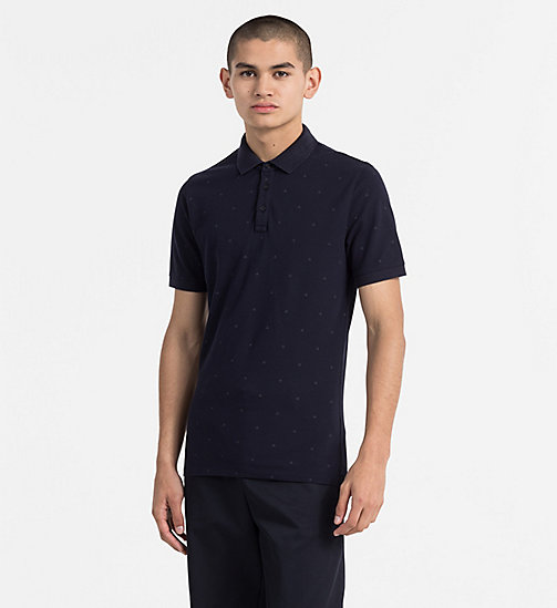 CALVIN KLEIN JEANS Slim Cotton Piqué Polo - NIGHT SKY - CALVIN KLEIN JEANS POLO SHIRTS - main image