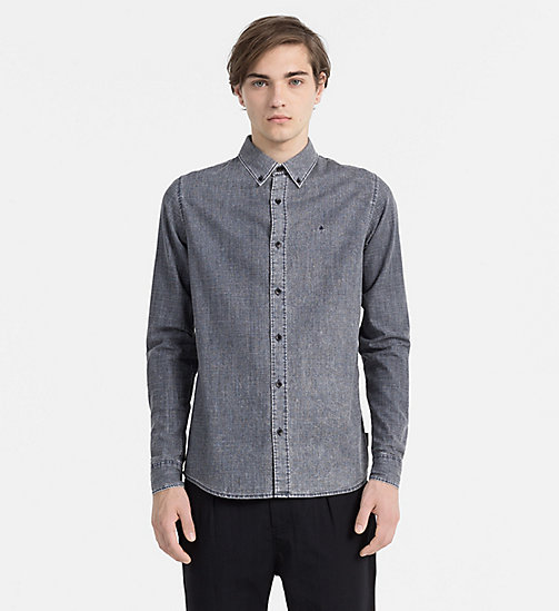 CALVIN KLEIN JEANS Slim Coated Denim Shirt - NIGHT SKY - CALVIN KLEIN JEANS CASUAL SHIRTS - main image