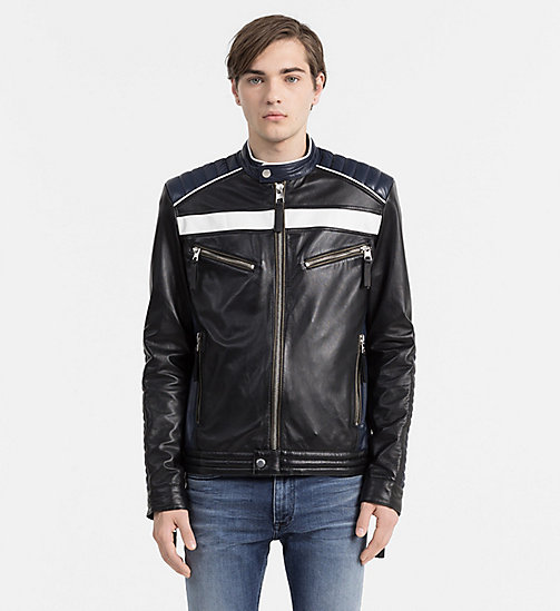 CALVIN KLEIN JEANS Leather Racer Jacket - CK BLACK - CK JEANS  - main image