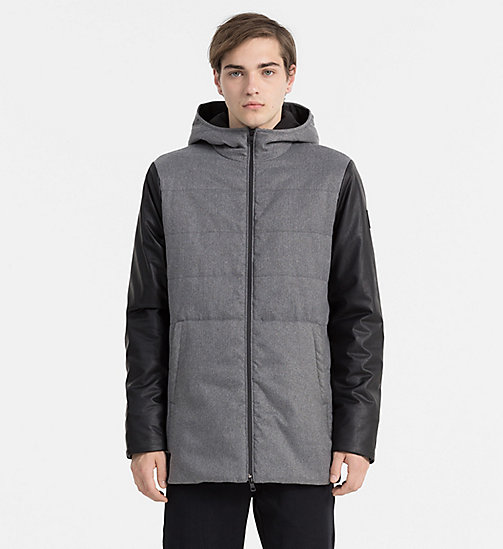 Material Mix Padded Jacket - MIDGREYHEATHER/CK BLACK - CALVIN KLEIN JEANS OUTERWEAR - main image
