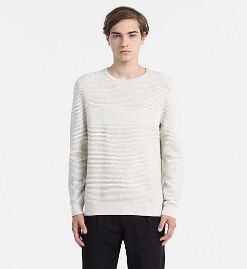 CALVIN KLEIN JEANS Textured Stripe Sweater - WHITE HEATHER - CALVIN KLEIN JEANS JUMPERS - main image