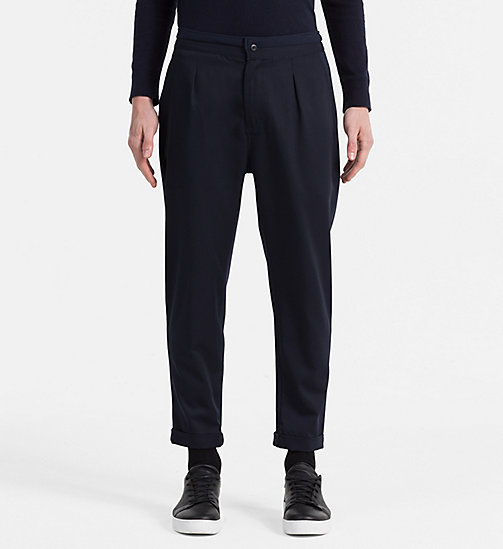 CALVIN KLEIN JEANS Material Mix Sweatpants - NIGHT SKY - CALVIN KLEIN JEANS JOGGING BOTTOMS - main image