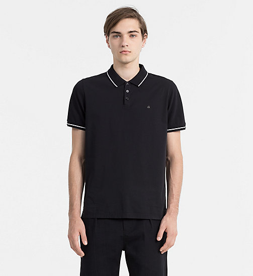 CALVIN KLEIN JEANS Fitted Cotton Piqué Polo - CK BLACK - CALVIN KLEIN JEANS POLO SHIRTS - main image
