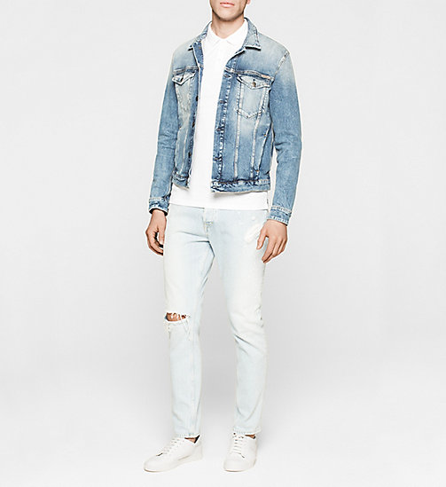CKJEANS Fitted jacquard katoenen polo - BRIGHT WHITE - CK JEANS  - detail image 1