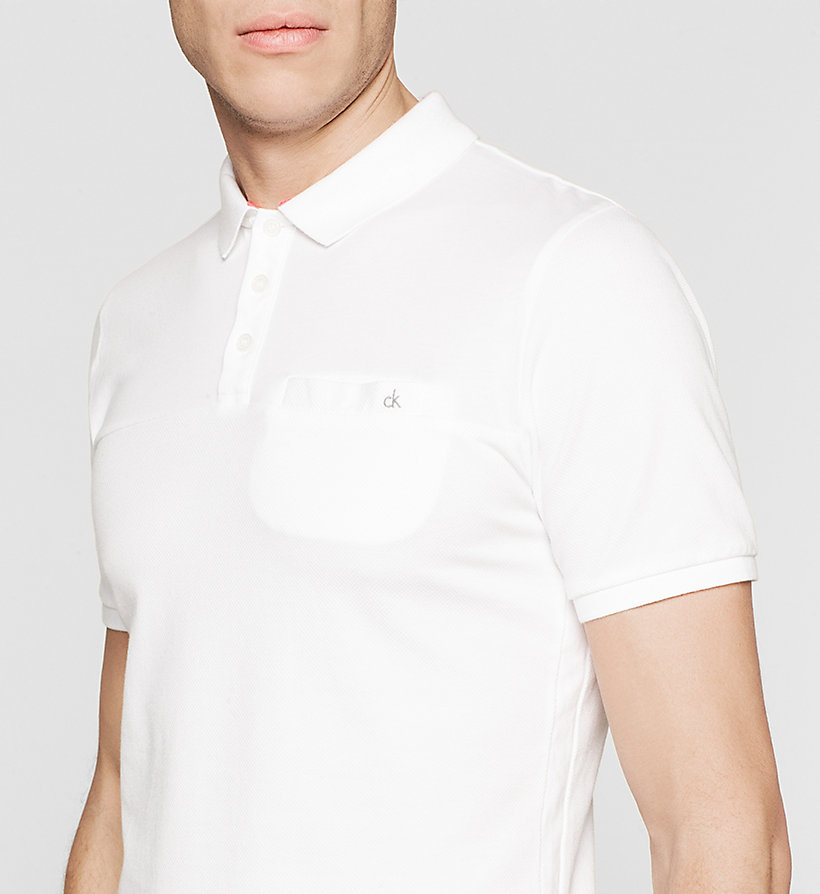 CKJEANS Slim Cotton Jacquard Polo - BRIGHT WHITE - CK JEANS CLOTHES - detail image 2