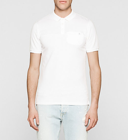CKJEANS Slim Cotton Jacquard Polo - BRIGHT WHITE - CK JEANS  - main image