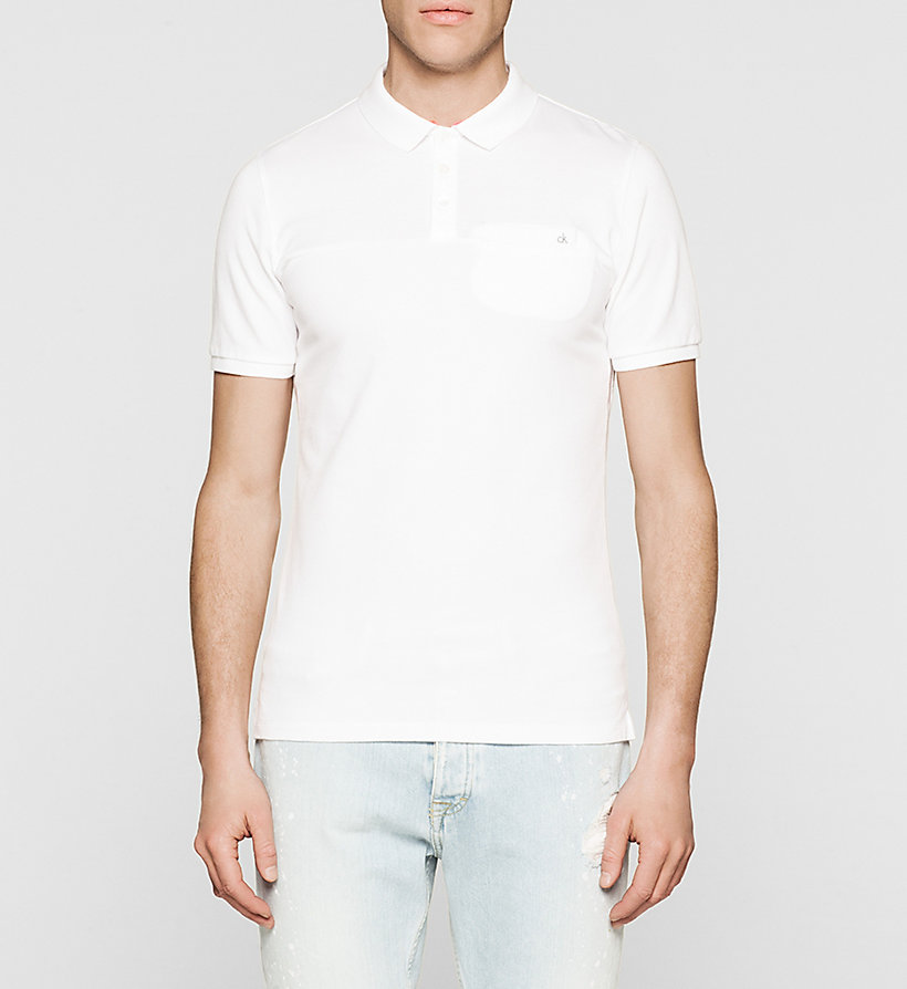 CKJEANS Slim Cotton Jacquard Polo - BRIGHT WHITE - CK JEANS CLOTHES - main image