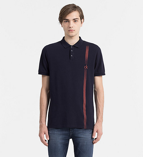 CALVIN KLEIN JEANS Fitted Cotton Piqué Polo - NIGHT SKY - CALVIN KLEIN JEANS POLO SHIRTS - main image