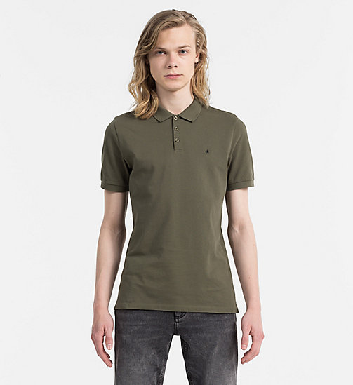 CALVIN KLEIN JEANS Fitted Pima Cotton Polo - GRAPE LEAF - CALVIN KLEIN JEANS POLO SHIRTS - main image
