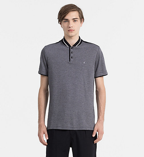 CALVIN KLEIN JEANS Two-Tone Cotton Polo - CK BLACK - CALVIN KLEIN JEANS POLO SHIRTS - main image