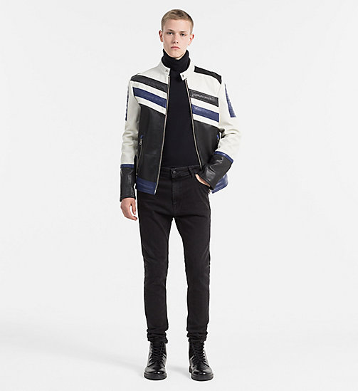 CALVIN KLEIN JEANS Leather Racer Jacket - BRIGHT WHITE / MULTI - CALVIN KLEIN JEANS NEW ARRIVALS - detail image 1