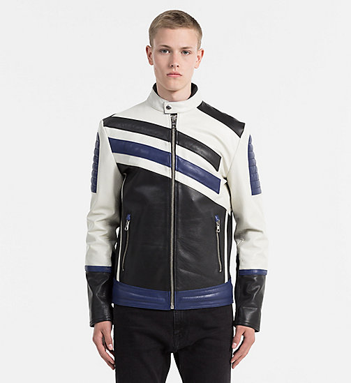 CALVIN KLEIN JEANS Leather Racer Jacket - BRIGHT WHITE / MULTI - CALVIN KLEIN JEANS NEW ARRIVALS - main image