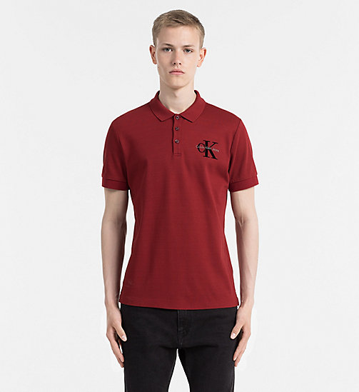 Fitted Piqué Polo - MERLOT - CALVIN KLEIN JEANS CLOTHES - main image