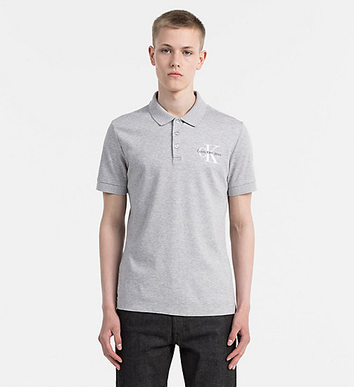 CALVIN KLEIN JEANS Fitted Piqué Polo - LIGHT GREY HEATHER - CALVIN KLEIN JEANS POLO SHIRTS - main image