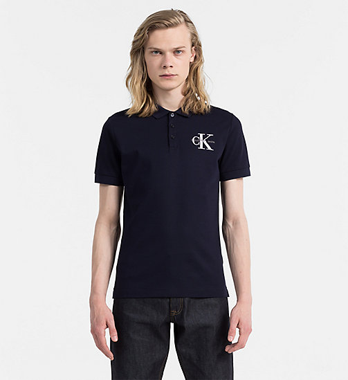 CALVIN KLEIN JEANS Fitted Piqué Polo - NIGHT SKY - CALVIN KLEIN JEANS POLO SHIRTS - main image