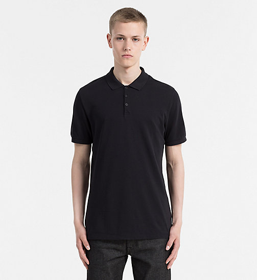 CALVIN KLEIN JEANS Long Waffle Cotton Polo - CK BLACK - CALVIN KLEIN JEANS POLO SHIRTS - main image