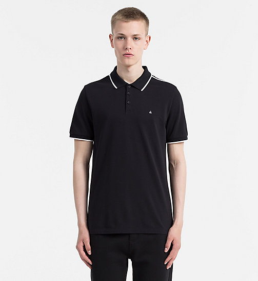 CALVIN KLEIN JEANS Fitted Pima Cotton Polo - CK BLACK - CALVIN KLEIN JEANS CLOTHES - main image