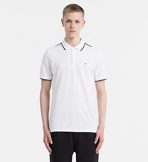 CALVIN KLEIN JEANS Fitted Pima Cotton Polo - BRIGHT WHITE - CALVIN KLEIN JEANS POLO SHIRTS - main image