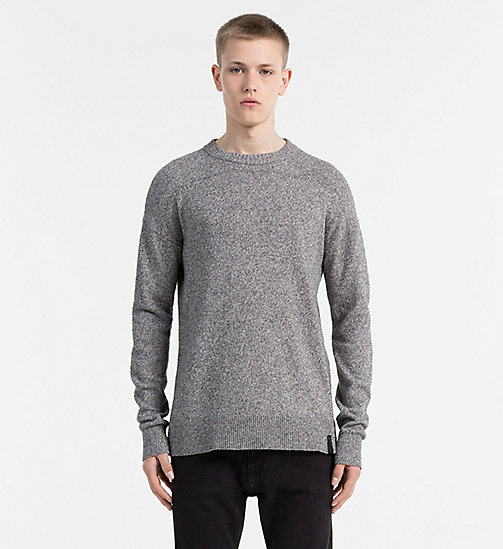 CALVIN KLEIN JEANS Bouclé Cotton Sweater - DARK GREY HEATHER - CALVIN KLEIN JEANS JUMPERS - main image