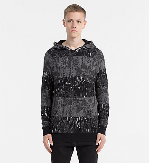 CALVIN KLEIN JEANS Cotton Wool Hooded Sweater - CK BLACK - CALVIN KLEIN JEANS NEW ARRIVALS - main image